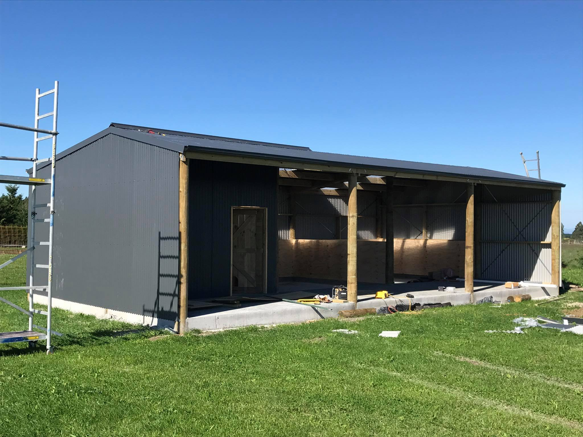 Three bay shed / horse stables farm build build by H3 Construction in Canterbury