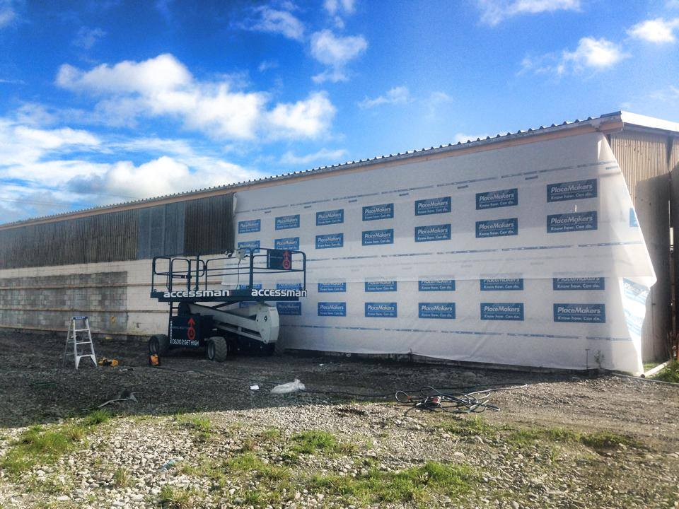H3 Construction working on a rural shed reclad in Canterbury