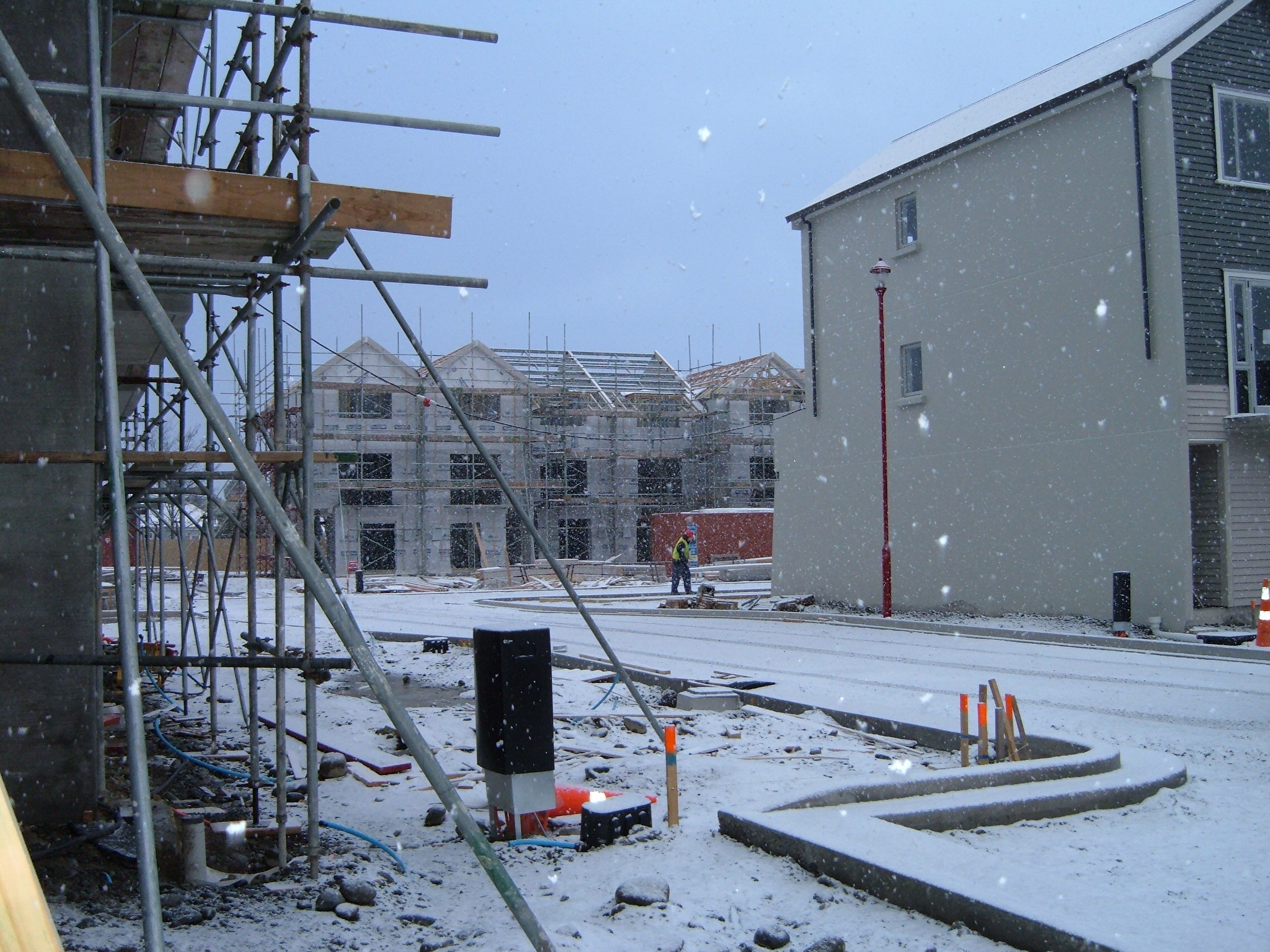 Our team working on the Poulson St 3 Story Units, a commercial construction project in Christchurch